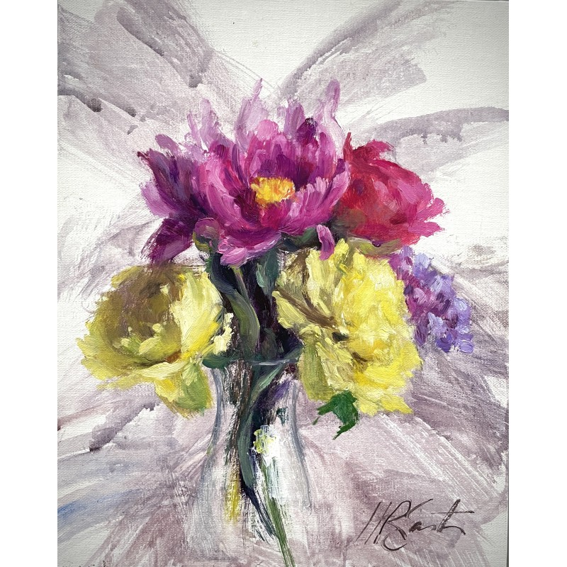 peonies, bouquet, floral painting, oil painting, colorful flowers, spring flowers, hetty easter paintings, hr easter, self care
