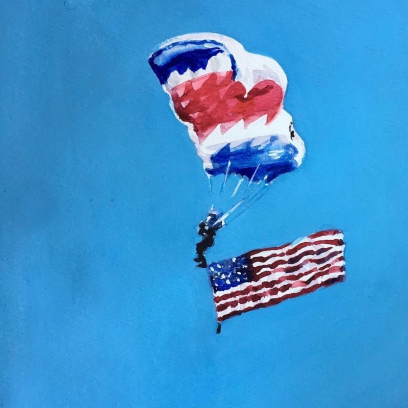Hetty Easter, painting, Lexington  Irving's, Virginia Military Institute, watercolor, american flag, Keydets