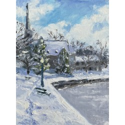 St.James, church, upstate ny, skaneateles, skaneateles New York, winter, pleinair, oil painting,